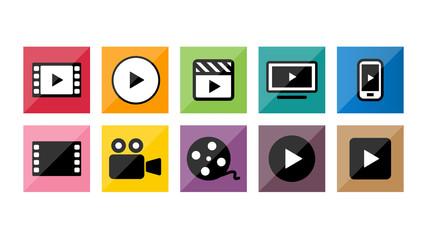 ビデオ動画再生ボタンのアイコンイラスト赤青黄色カラー複数セット