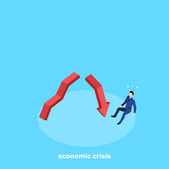 a man in a business suit fell from a broken arrow, an isometric image