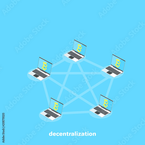 Computers With The Bitcoin Symbol Are Connected To A Decentralized Network An Isometric Image
