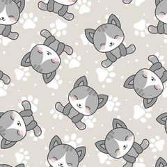Cute Cats with Kitten Paw Seamless Pattern, Cartoon Animals Background, Vector Illustration