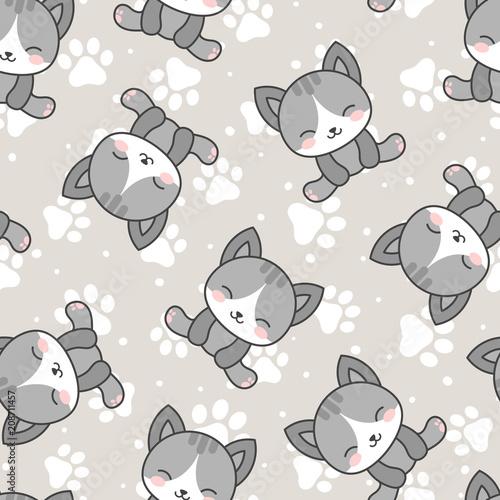 Cute Cats With Kitten Paw Seamless Pattern Cartoon Animals
