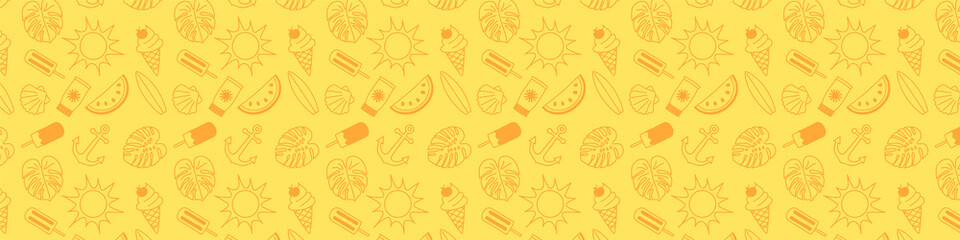 Banner with hand drawn summer icons and copyspace. Vector.