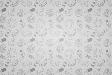 Funny summer background with hand drawn icons. Vector.