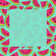 Template of a card for Summer Sale with watermelons and copyspace. Vector.