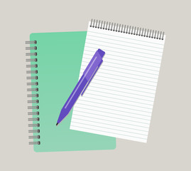Two notepads and a pen. Vector illustration
