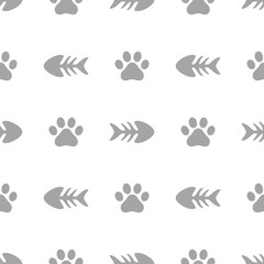 Fishbone and Animal Paw Seamless Pattern Background, Cat and Fish Vector Illustration