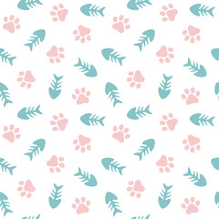Fish and Pet Paw Seamless Pattern Background, Cat and Fish Bone Vector Illustration