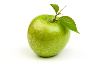Green apple granny smith with leaf, isolated on white background.