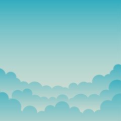 Blue Gradient Cloud and Sky Background, Vector Illustration, You can use it as a background and place your text