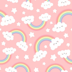 Cute Cloud Background with Rainbow Seamless Pattern, Cartoon Vector Illustration for Kid