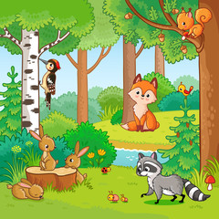Vector illustration with cartoon animals in the forest. Picture in the childrens style. Set of animals.
