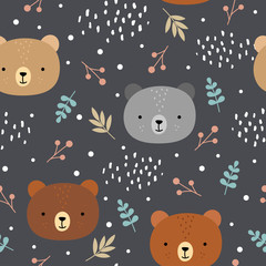 Cute teddy bears background, seamless pattern, hand drawn forest, vector illustration
