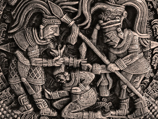 bas-relief with representing aztecs - ancient militant mexican tribe