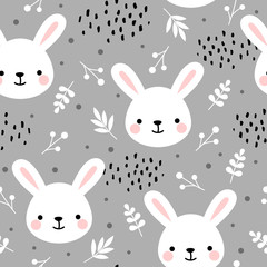 Cute rabbit seamless pattern, bunny hand drawn forest background with flowers and dots, vector illustration