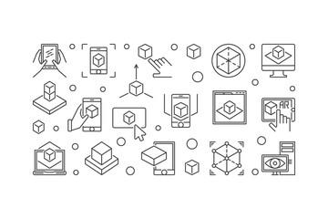 AR Technology vector line illustration or horizontal banner