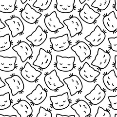 Cute Simple Cats Seamless Pattern, Isolated Cartoon Animals Background, Vector Illustration