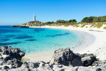 Summer day at Pinky Beach and the Bathurst Lighthouse on Rottnest Island, Perth, Western Australia, Australia.
