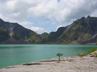 The Sulfur Lake of Pinatubo Volcano. Travel in Clark, Philippines in 2013, 21th July