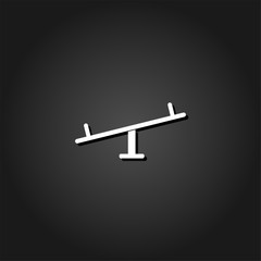 Swing icon flat. Simple White pictogram on black background with shadow. Vector illustration symbol