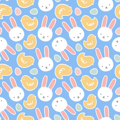 Cartoon Bunny and Cute Chick Seamless Pattern, Easter or Kid Vector Illustration Background with Egg