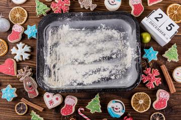 baking tray 25 december calendar christmas background