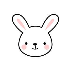 Cute Rabbit Face Vector Bunny Icon