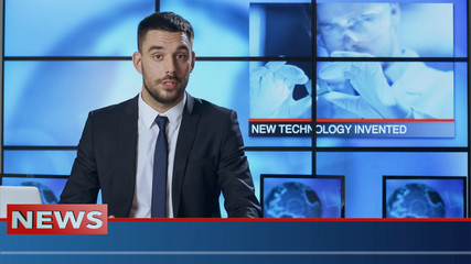 Male News Presenter Speaking about Breakthrough in Technology
