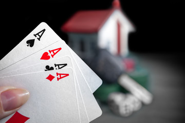 Four aces. Aces high in hand. Poker play.