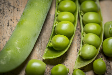 green pea close up in the detail