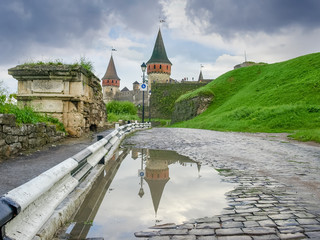 Road to the Kamianets-Podilskyi fortress after rain, Ukraine