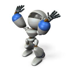 バンザイして待機するキュートなロボット