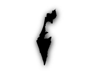 Karte von Israel mit Schatten