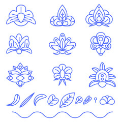 Flower flat color vector outline icons. Objects isolated on a white background.