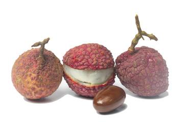 lychee  fruit isolated on white background