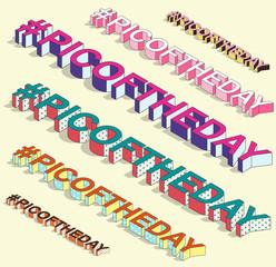 Isometric hashtag - picoftheday. Internet blogging