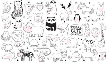 Vector cartoon big set of cute doodle animals