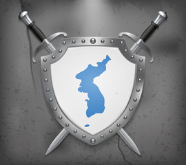 Flag of United Korea. The Shield with National Flag. Two Crossed Swords. Medieval Background