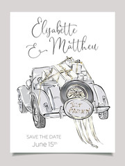Wedding invitation card template with cabriolet car vector illustration. Clip art set black and white wedding
