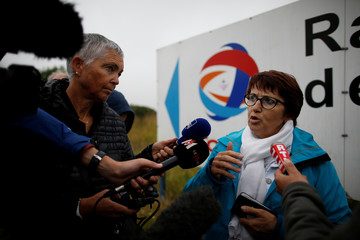 Christiane Lambert, President of France's farmer's union group FNSEA, talks to journalists during a protest by French farmers near the French oil giant Total refinery in Donges