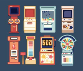 Collection of arcade video games, coin-ops and casino gambling slot machines isolated on grey background. Bundle of devices for entertainment. Colorful vector illustration in flat cartoon style.