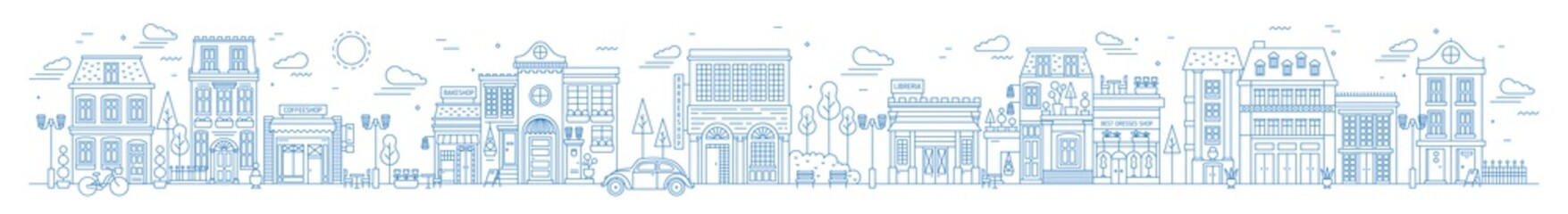 Monochrome horizontal urban landscape with city or town street or district. Cityscape with living houses and shops drawn with contour lines on white background. Vector illustration in lineart style.
