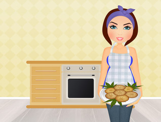 illustration of girl cooking cannabis cookies