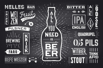 Beer. Poster or banner with text All You Need Is Beer and names types of beer. Colorful graphic design for print, web or advertising. Poster for bar, pub, restaurant, beer theme. Vector Illustration