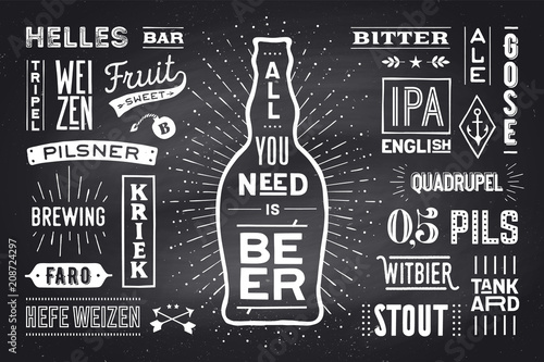 beer poster or banner with text all you need is beer and names