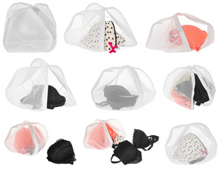 Wash bag for delicate clothes, shoes, underwear, bra. A laundry bag made of white mesh filled bras.