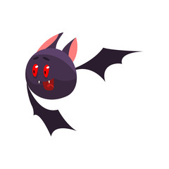Cute cartoon halloween bat character flying and gesturing vector Illustration on a white background