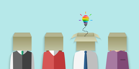 Thinking out of the box and imagination concept. Group of people with cardboard box head and colorful light bulb as creative idea metaphor. Vector illustration in flat design.