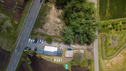 [空撮写真]建物と木