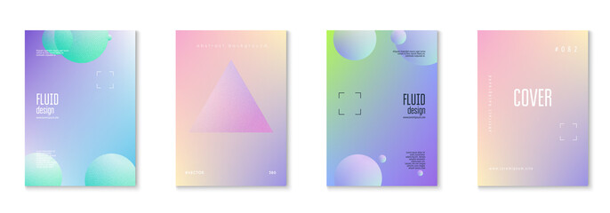 Cover fluid set with round shapes. Gradient circles on holographic background. Modern hipster template for placards, banners, flyers, report, brochure. Minimal cover fluid in vibrant neon colors.