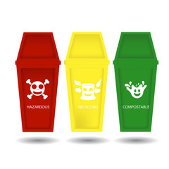 Vector of Trash bins in different three colors for garbage classification.